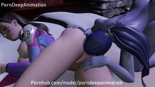 3D Hentai D.va and Widowmaker on a Hot night Lesbian Big Ass Licking