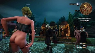 The Witcher 3 Triss and courtesans are all nude by mods at the party