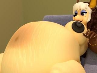 Jackal Mom Furry Stuffs belly until she pops